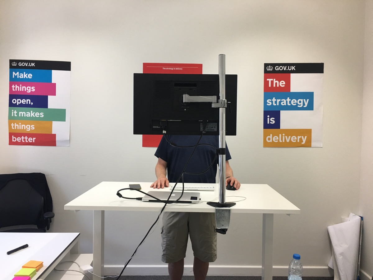 Tom at his standing desk