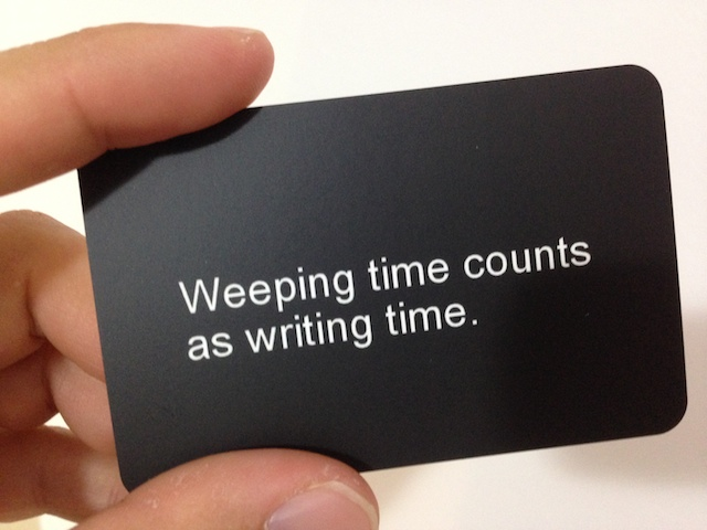 Weeping time counts as writing time