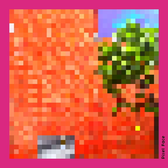 A pixellated image of bright orange and green colours