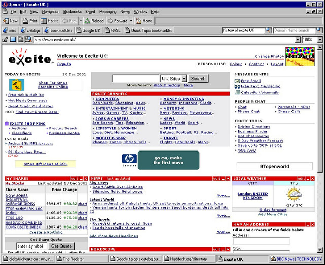 Screenshot of some really old internet