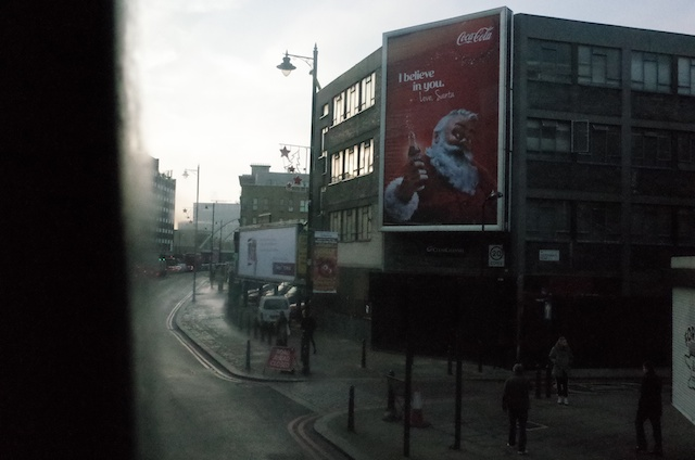 Festive east London, from the window of a no 26 bus