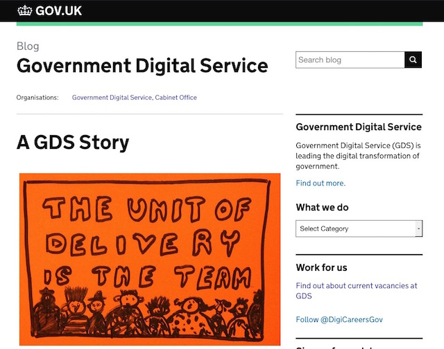 Screenshot of the GDS story home page
