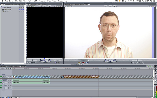 Screenshot of Final Cut Pro showing me looking silly