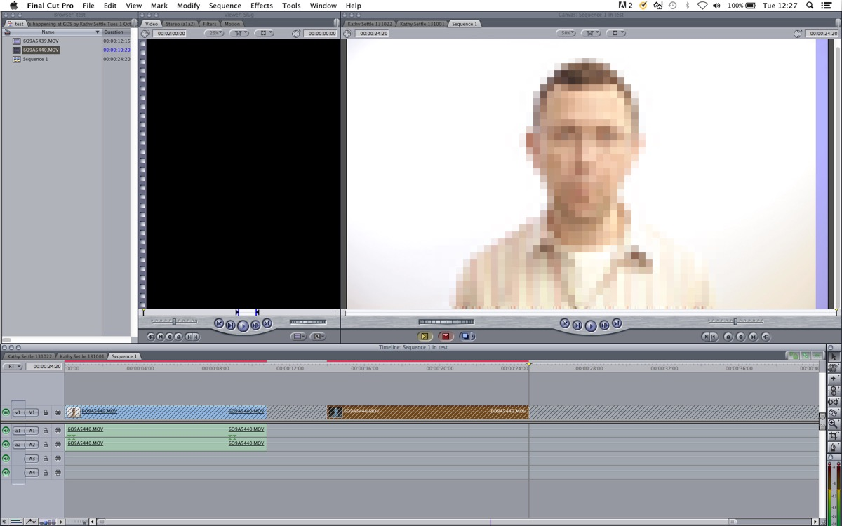 Screenshot of an old version of Final Cut Pro
