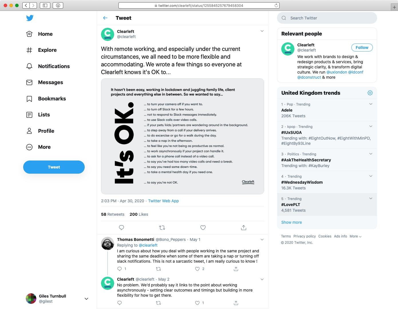 Screenshot of Clearleft's tweet
