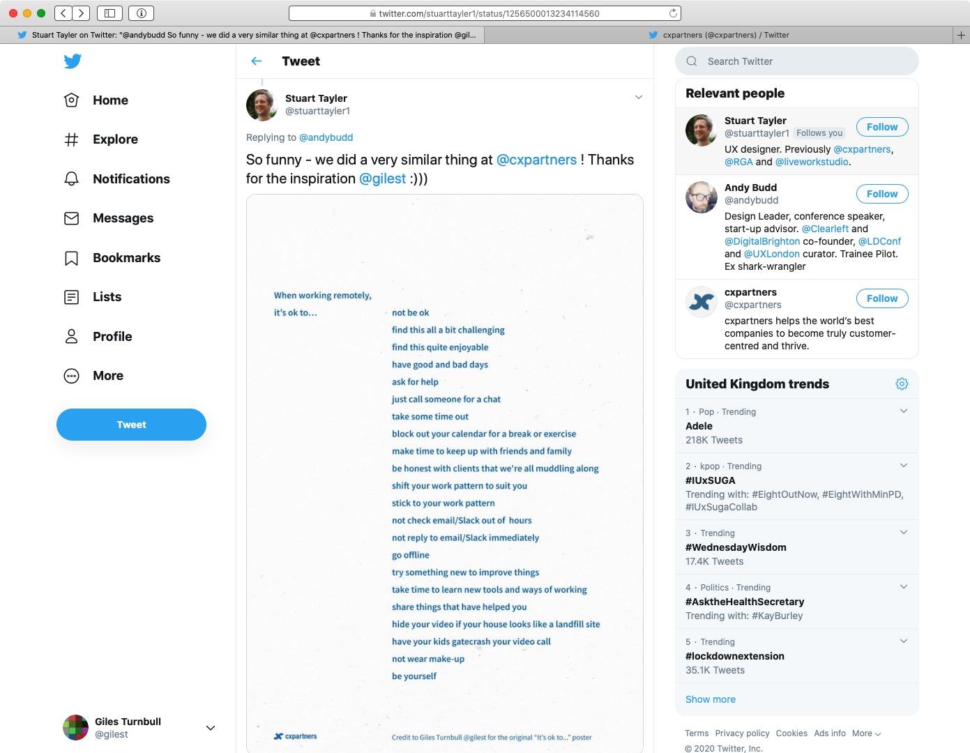 Screenshot of CX Partners tweet